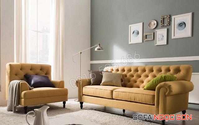 Sofa vải tone sáng thiết kế phòng cách tuxedo