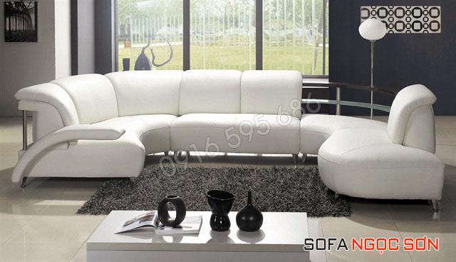 sofa da phòng khách đẹp giá rẻ